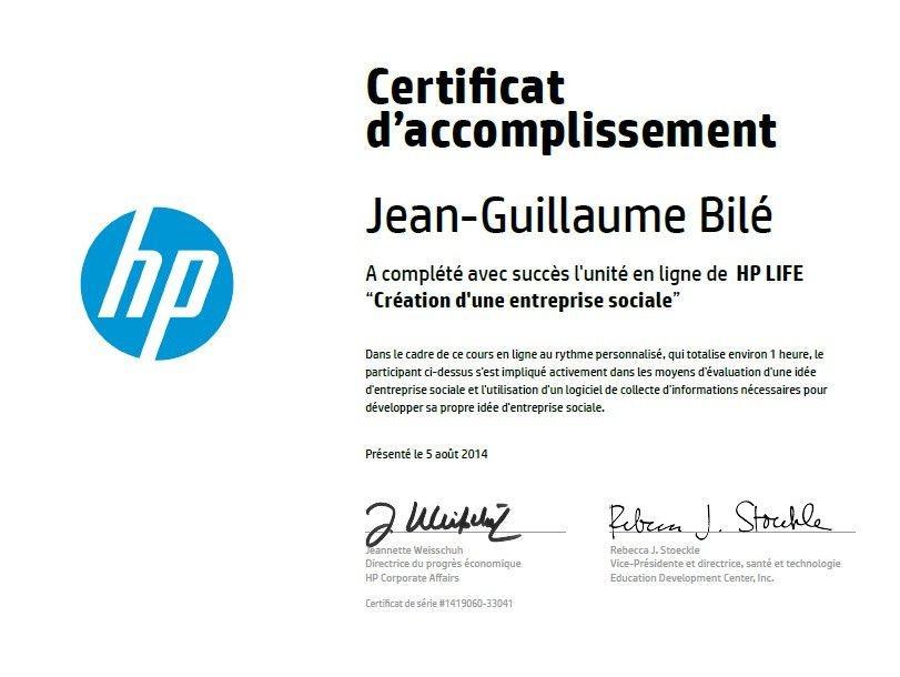"""Mon certificat d'accomplissement HP LIFE e-Learning: """"Création d'une entreprise social"""""""