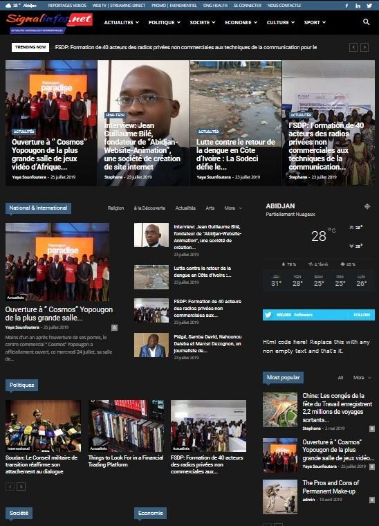 """23 juillet 2019 / signalinfos.net titre : Jean Guillaume Bilé, fondateur de """"Abidjan-Website-Animation"""", une société de création de site internet.<br />Abidjan-Website-Animation est une agence de web design installée en Côte d'Ivoire, dont le siège social se trouve à Abidjan Cocody Riviera. C'est une société qui fait du chemin et nous ouvre ces portes aujourd'hui en relevant les secrets qui font parler d'elle. Nous avons rencontré M. Jean Guillaume Bilé son fondateur et dirigeant qui a bien voulu répondre à nos questions.<br />http://signalinfos.net/blog/2019/07/23/interview-jean-guillaume-bile-fondateur-de-abidjan-website-animation-une-societe-de-creation-de-site-internet"""