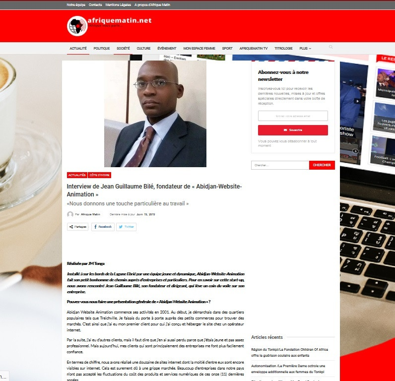Afriquematin.net : Installé à sur les bords de la Lagune Ebrié par une équipe jeune et dynamique, Abidjan-Website-Animation fait son petit bonhomme de chemin auprès d'entreprises et particuliers. Pour en savoir sur cette start-up, nous avons rencontré Jean Guillaume Bilé, son fondateur et dirigeant, qui lève un coin du voile sur son entreprise.<br />https://afriquematin.net/jean-guillaume-bile-fondateur-de-abidjan-website-animation-nous-donnons-une-touche-particuliere-au-travail/