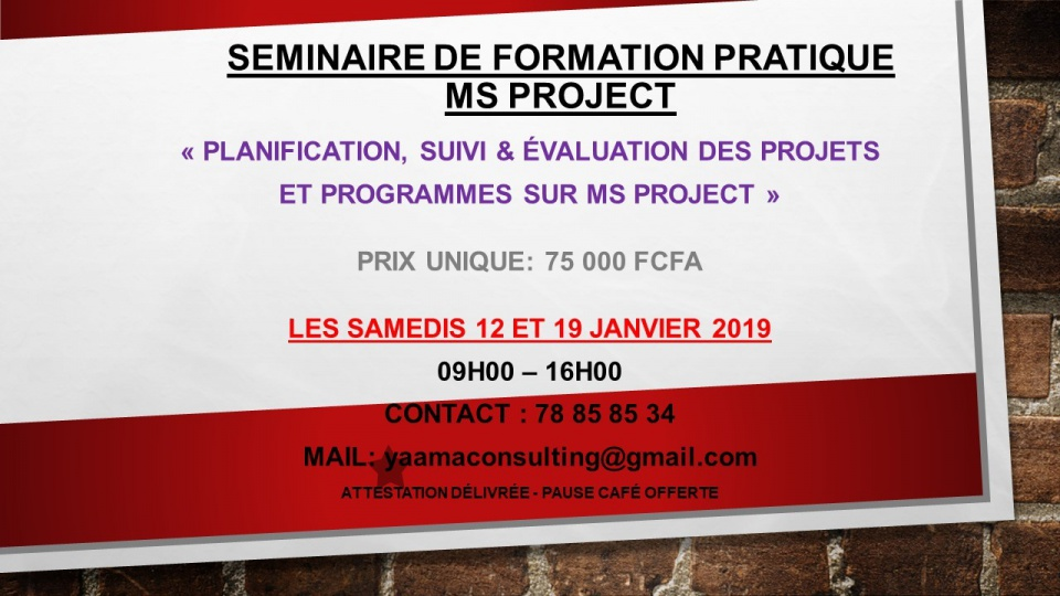 SEMINAIRE DE FORMATION PRATIQUE MS PROJECT