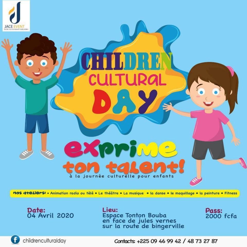 Children Culture Day est la journée culturelle organisée pour les jeunes enfants.<br />Il y aura de l'avoir matin radio et télévisuel, du théâtre et de la musique, de la danse, de la peinture du fitness...<br />Cet événement aura lieu à l'espace Tonton Bouba en face de l'école Jule Vernes sur la route de Bingerville le 04 avrils 2020